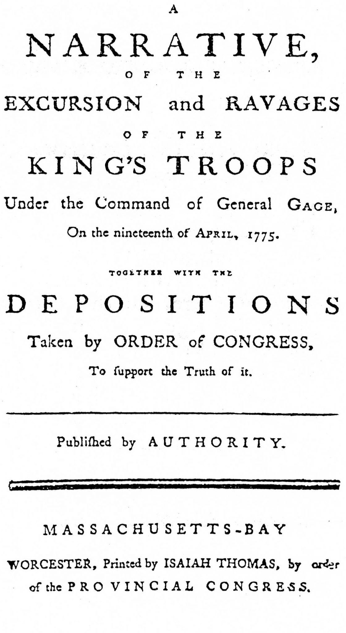 A Narrative of the Excursion and Ravages of the King's Troops