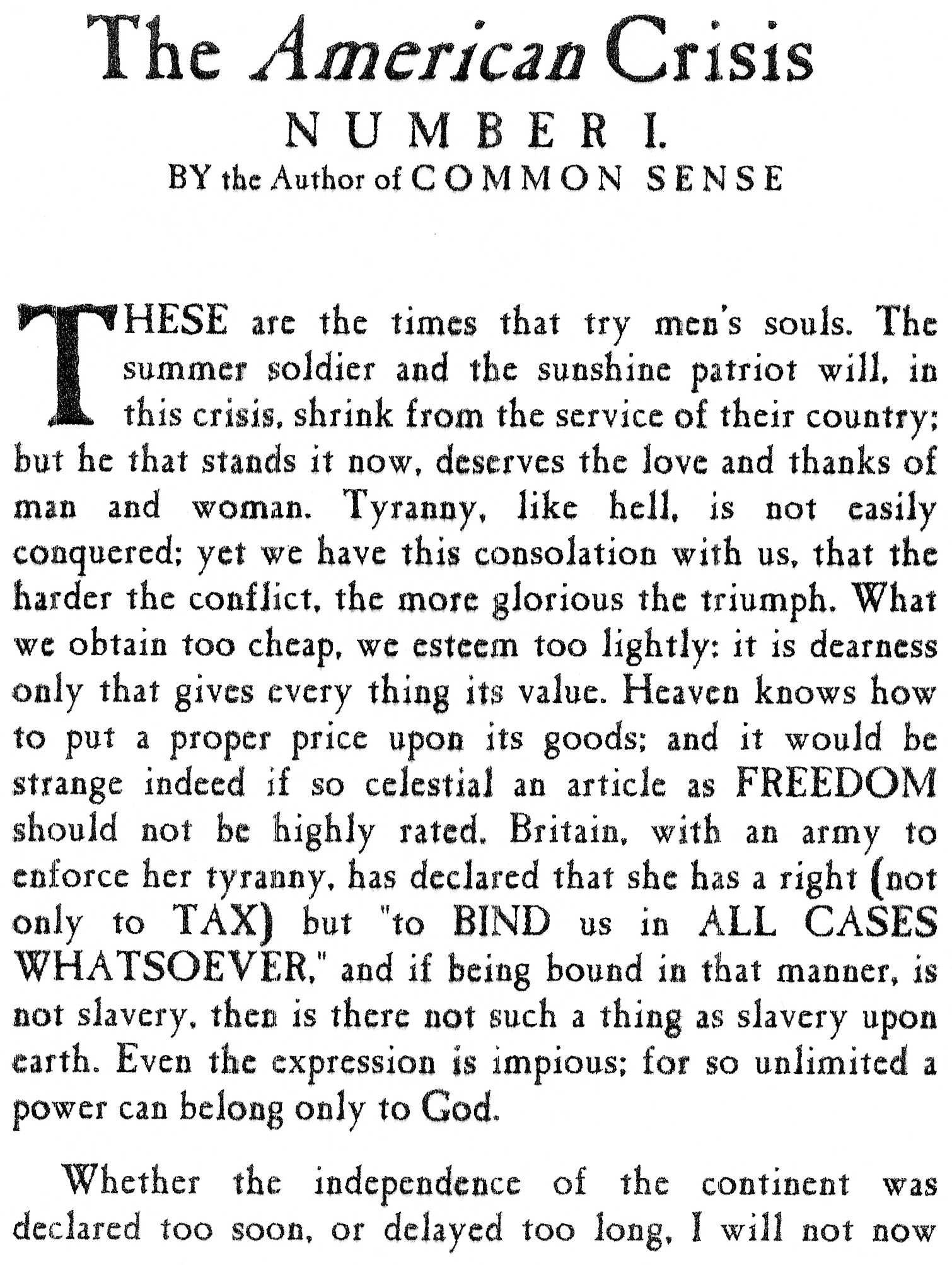 American Crisis, #1, 1776