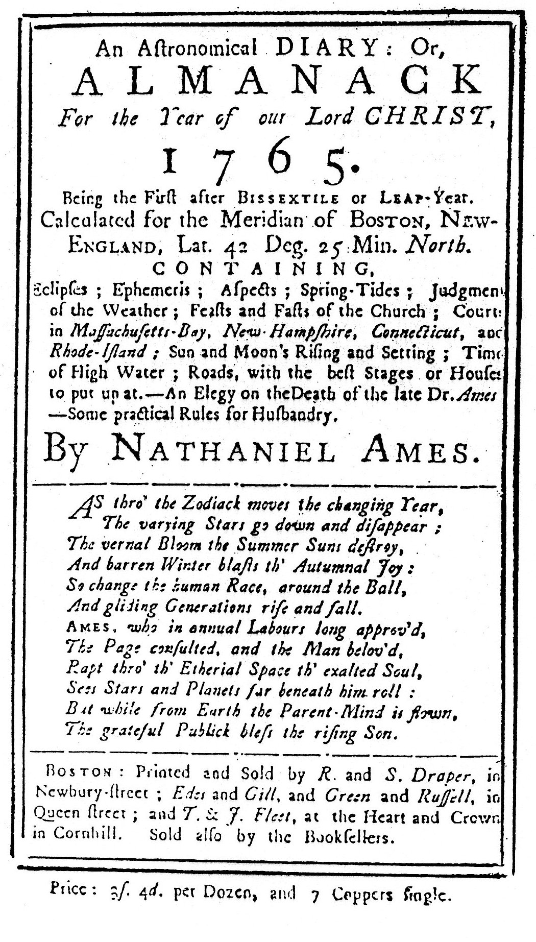 Ames' Almanack for 1765
