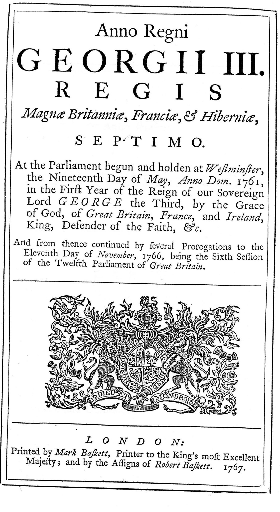 An Act to Enable His Majesty to put the Customs and other Duties in the British Dominions in America, London, 1767