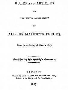 Articles of War, 1807