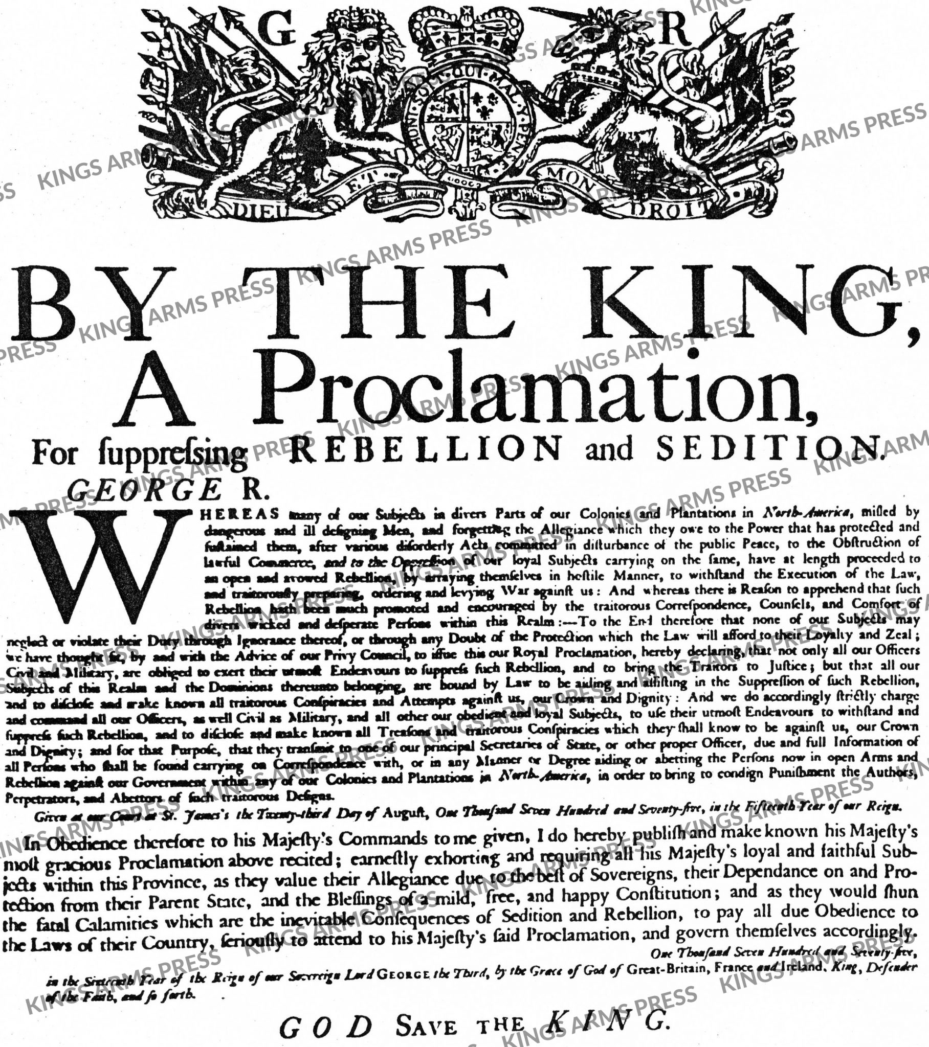 By the King, A Proclamation for Suppressing Rebellion and Sedition