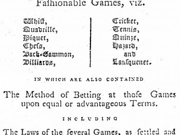 Hoyle's Games Improved, London, 1778