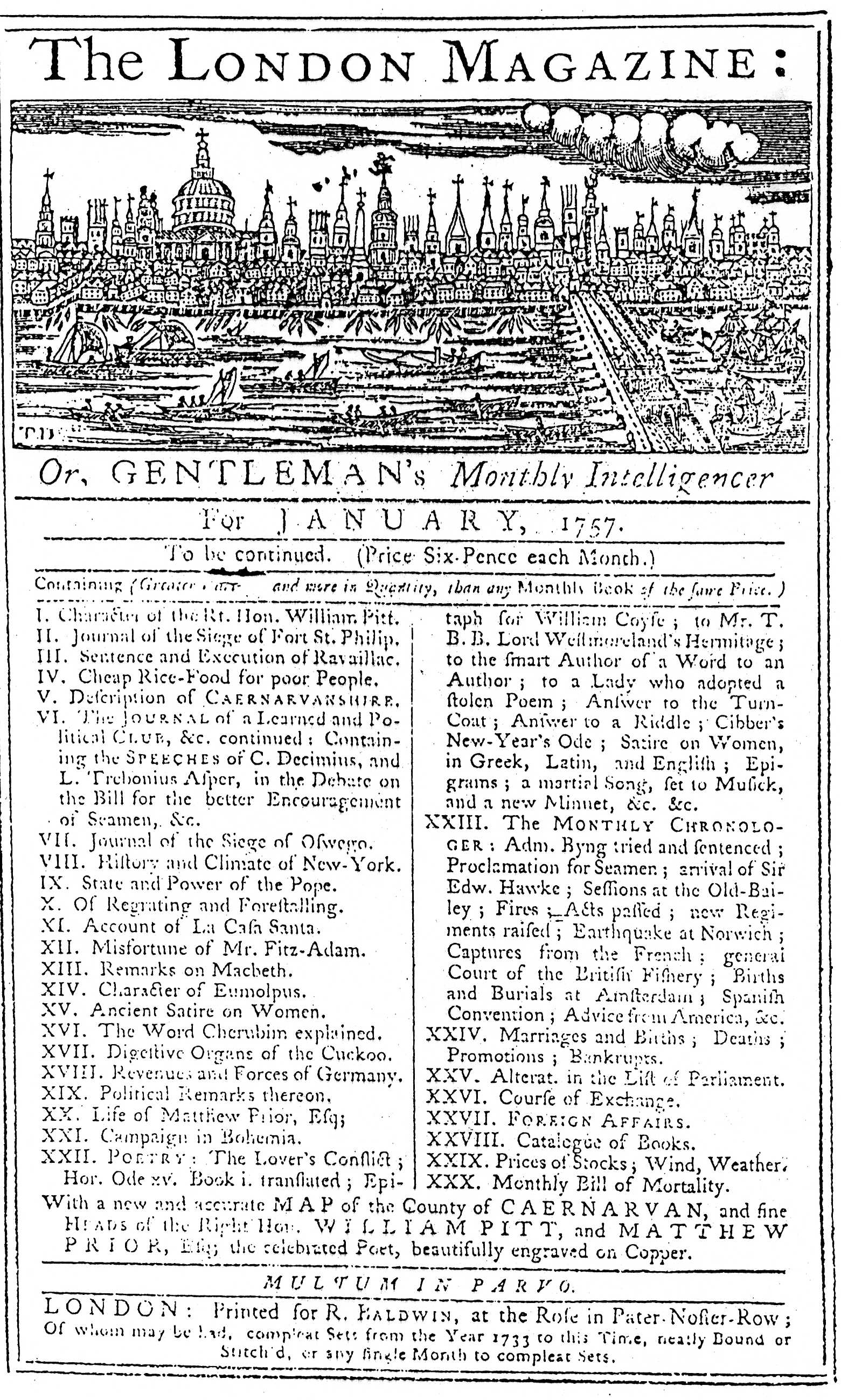 London Magazine for January, 1757