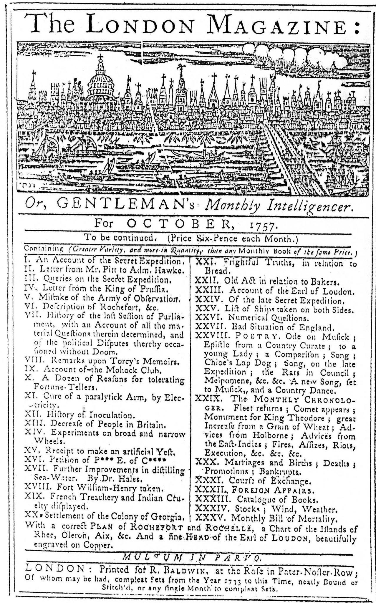 London Magazine for October, 1757