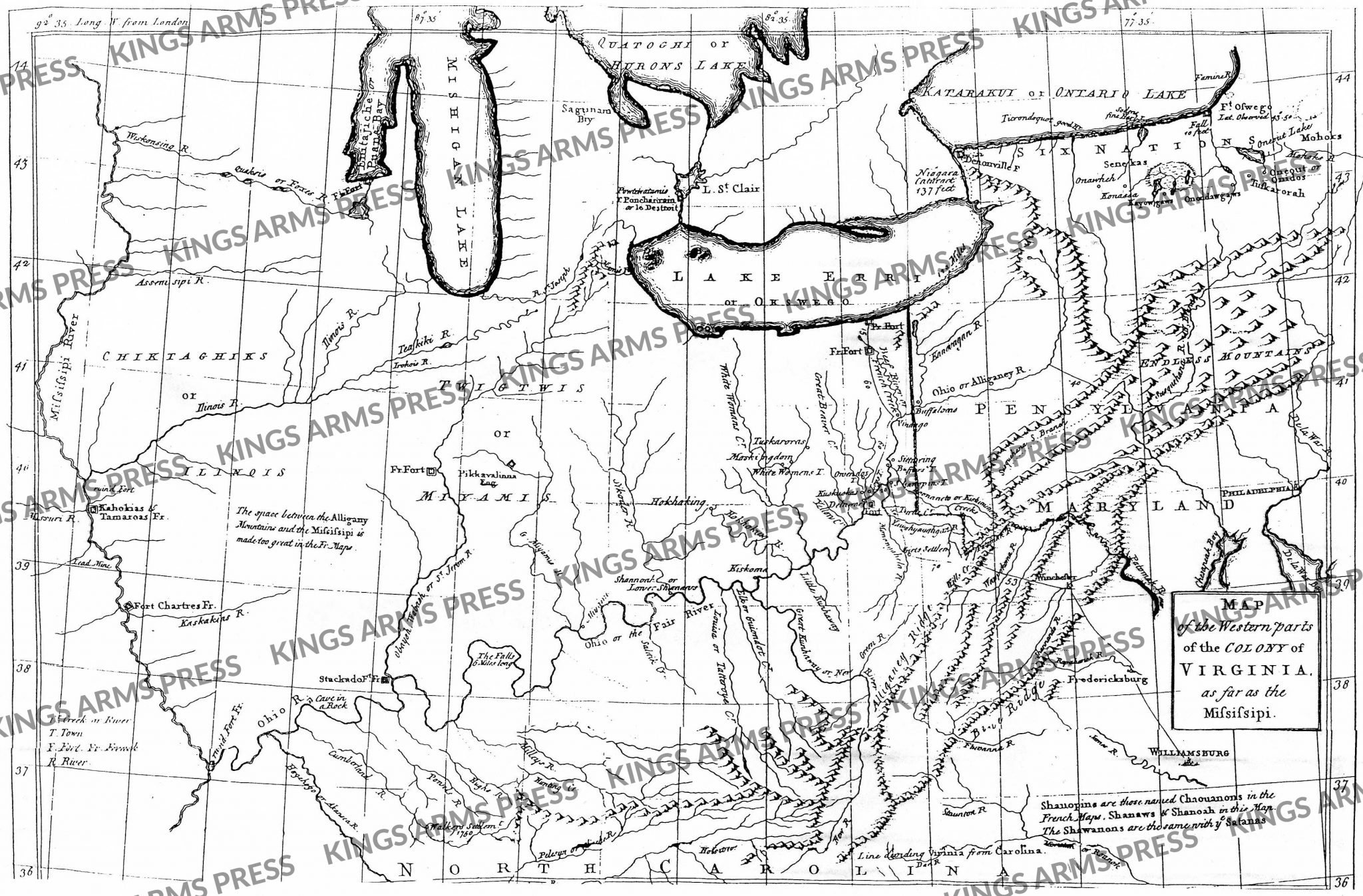 Map of the Western Parts of the Colony of Virginia as Far as the Mississippi