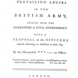 Observations on the Prevailing Abuses in the British Army, London, 1775
