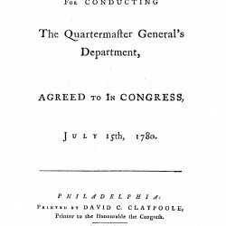 Plan for Conducting the Quartermaster General's Department, As agreed to in Congress, July 15, 1789