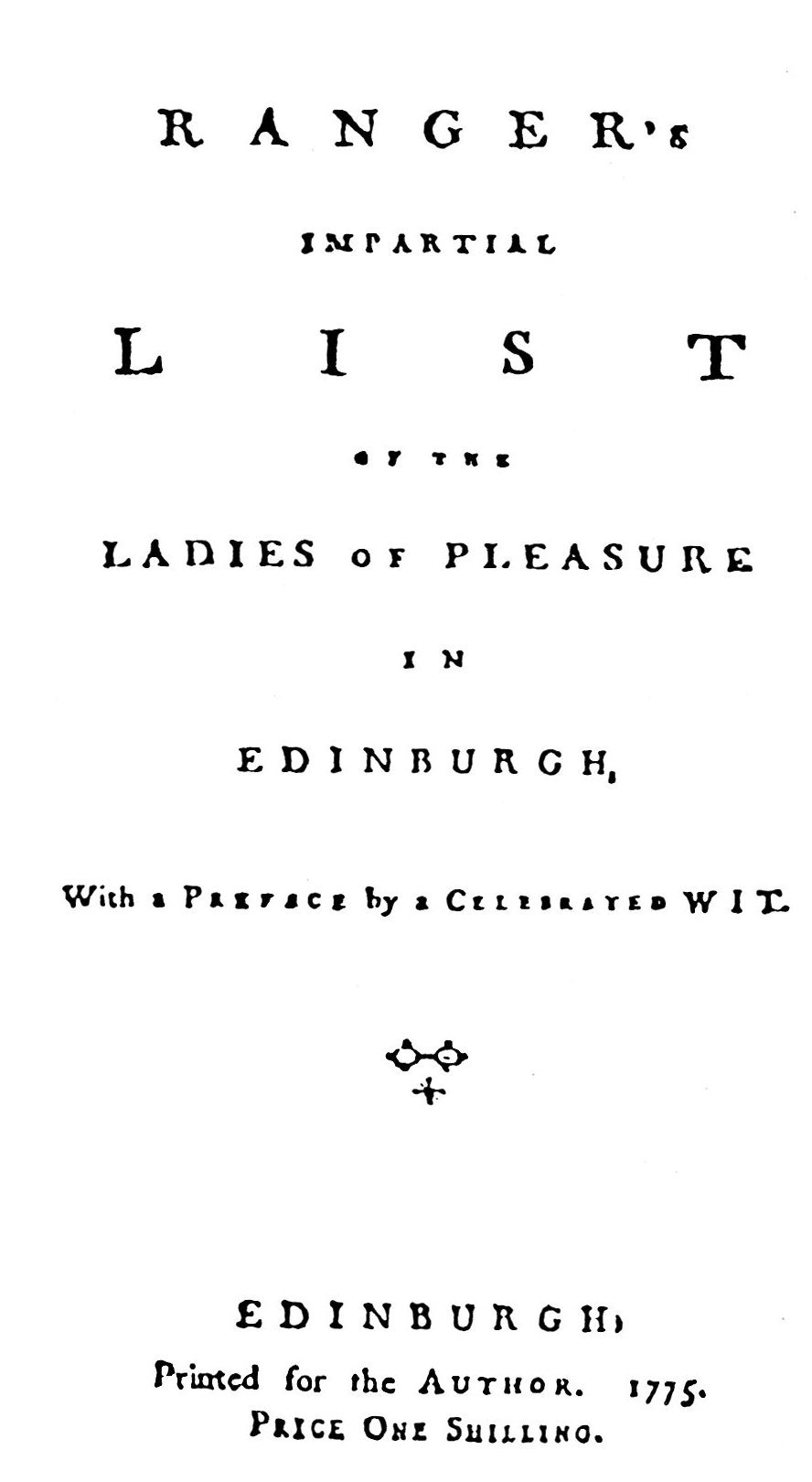 Ranger's Impartial List of the Ladies of Pleasure, &c.