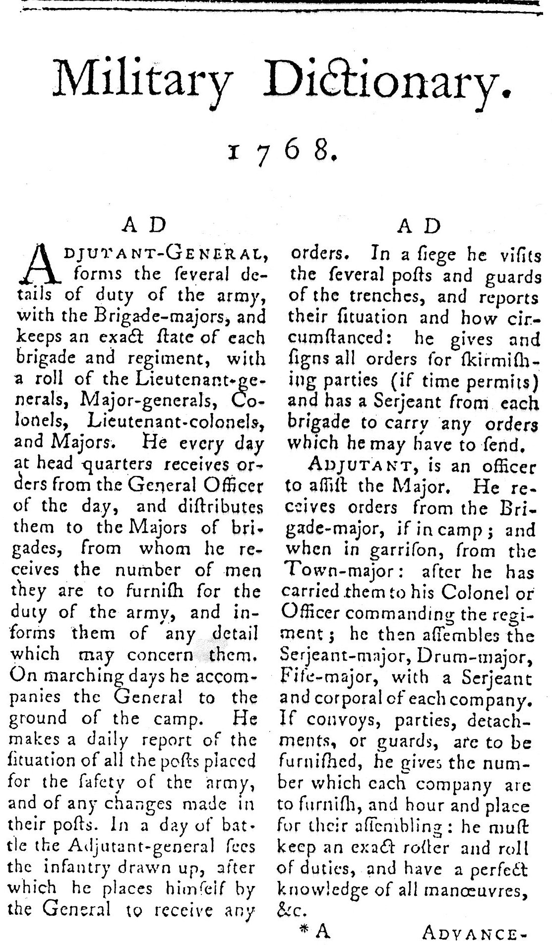 The Military Dictionary of 1768