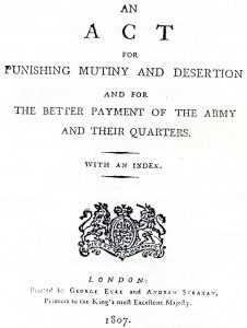 The Mutiny Act of 1807