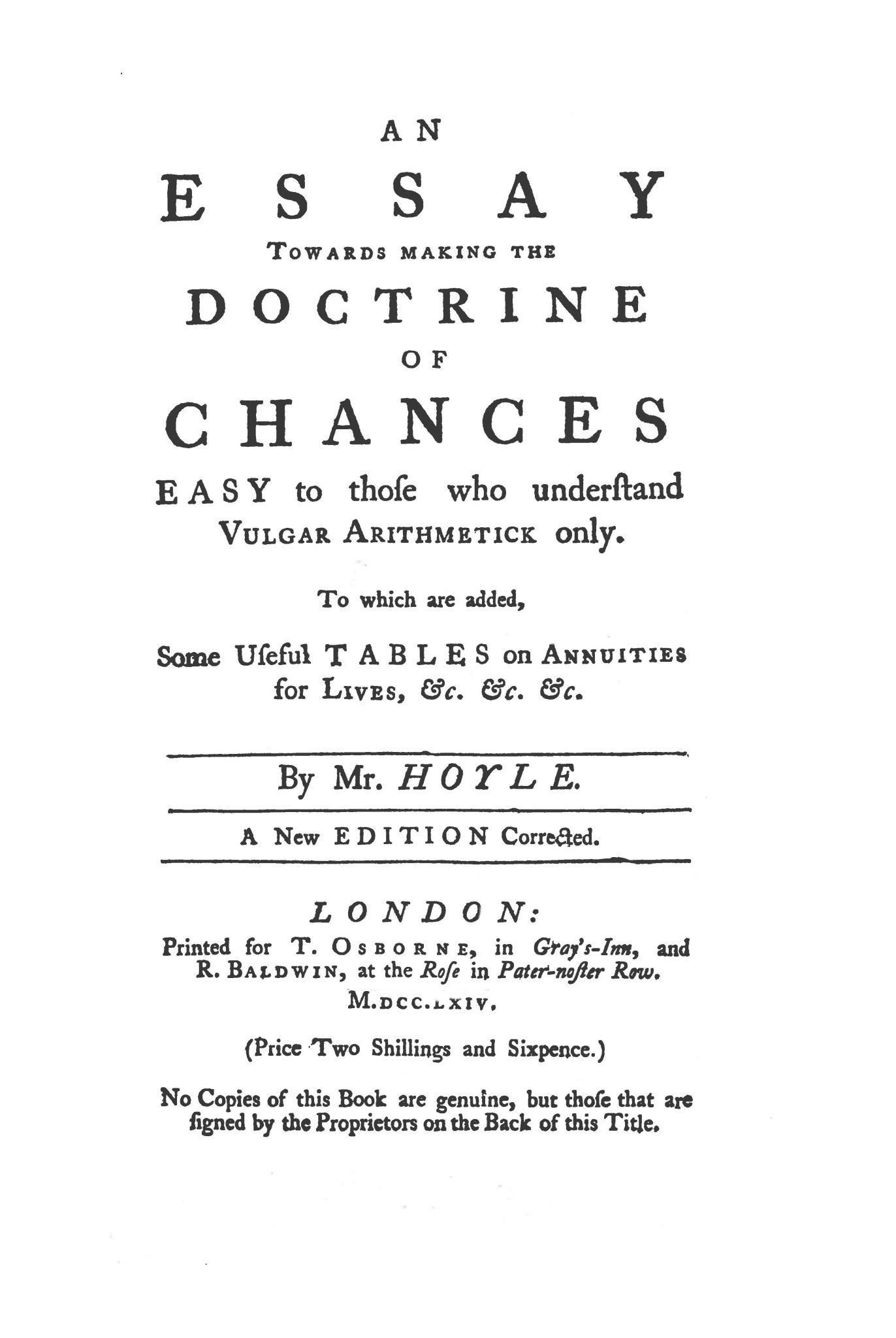 Hoyle's Essay on the Doctrine of Chances