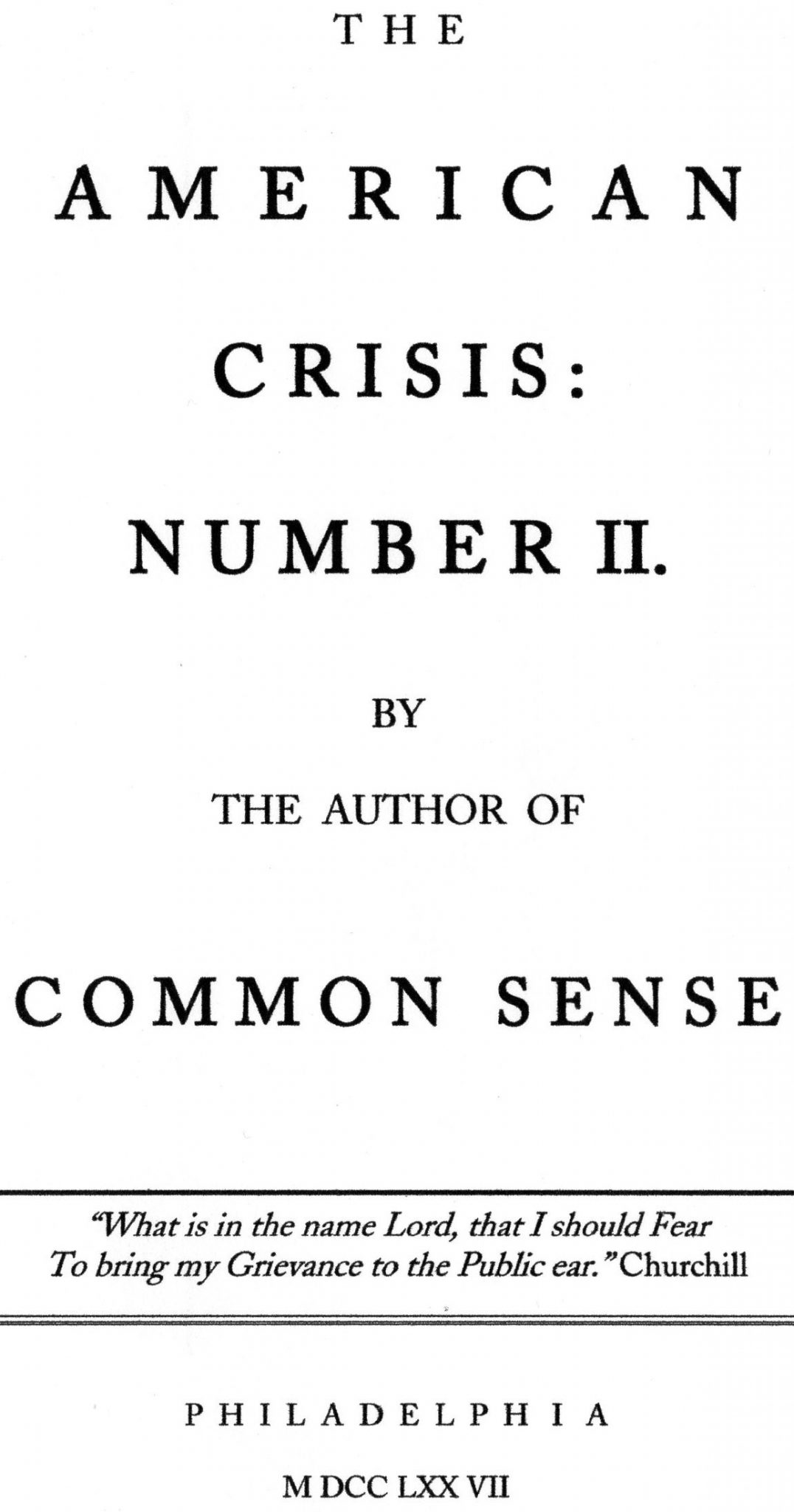 The American Crisis: Number II