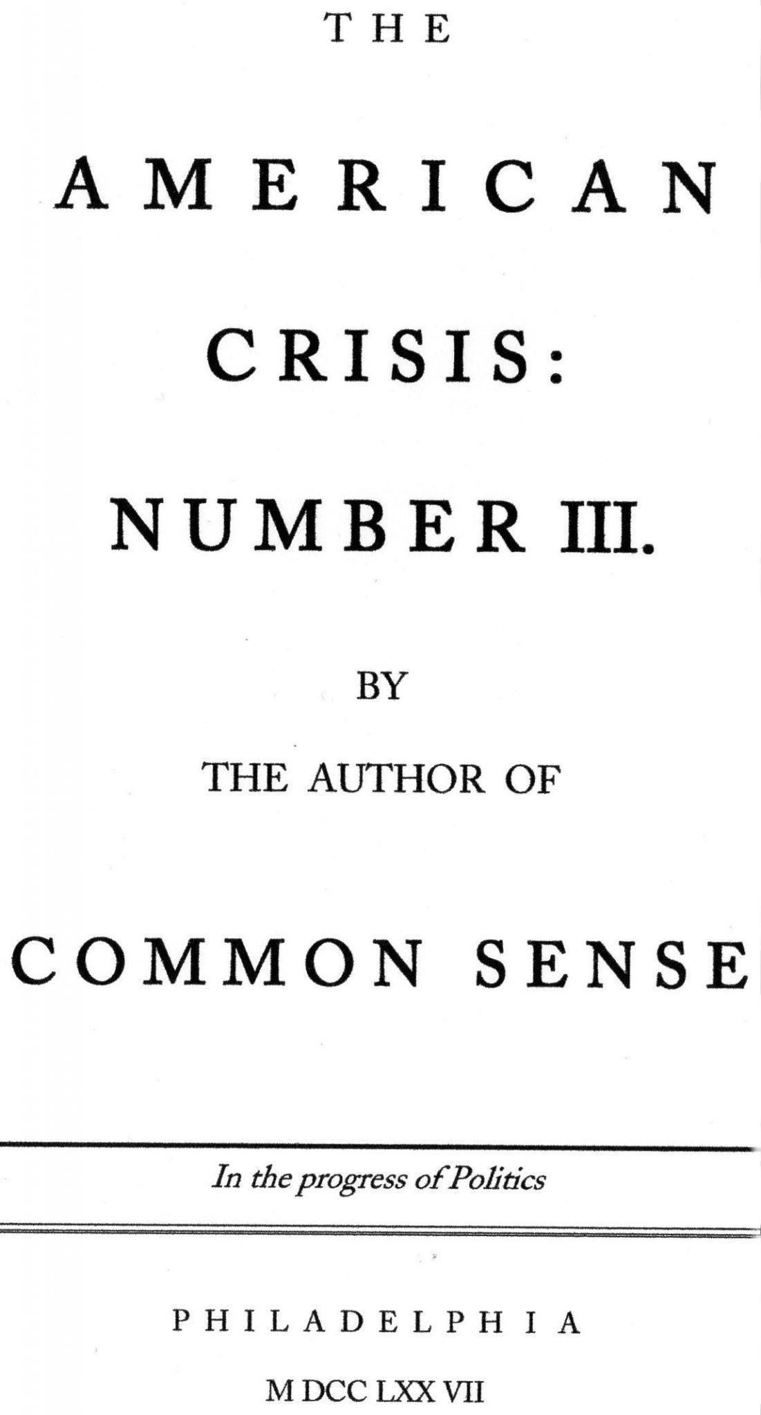 American Crisis, #III, 1777